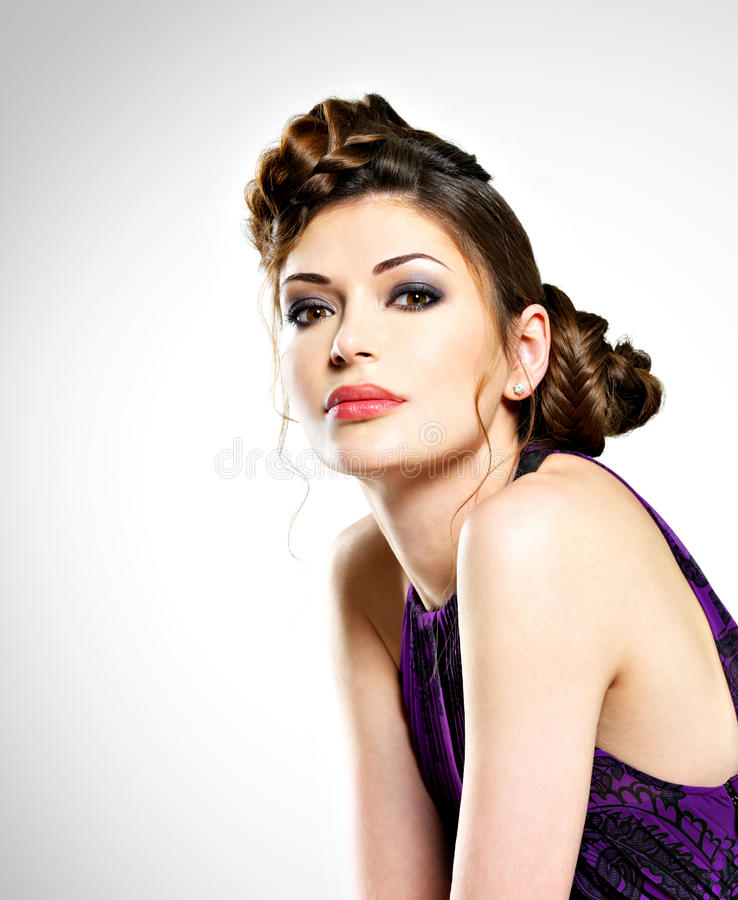 Download Beautiful  Woman With Stylish Hairstyle With Pigtails Design Stock Photo - Image: 29693260