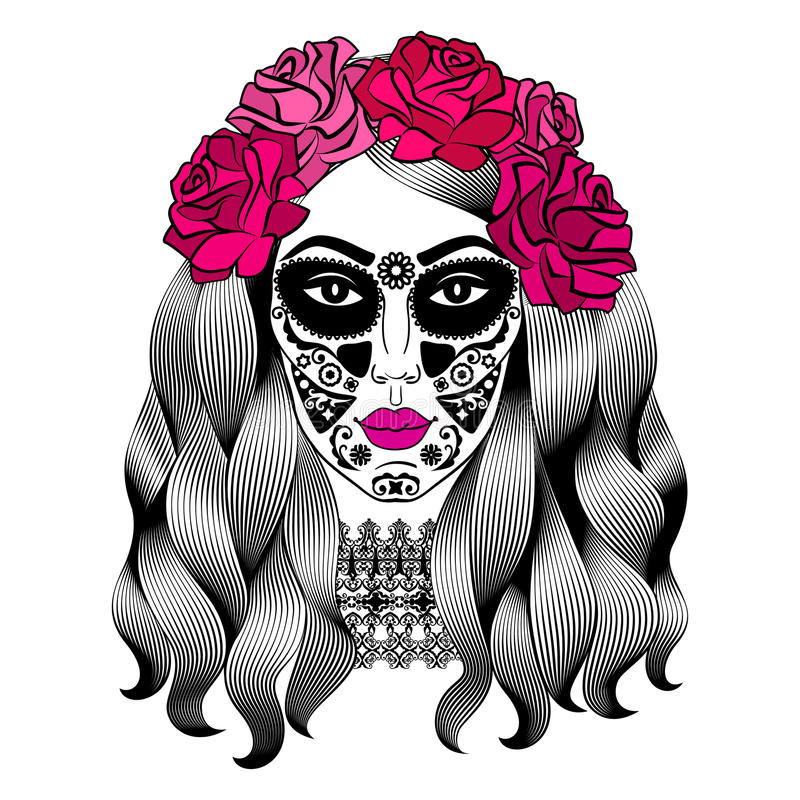 beautiful woman with sugar skull makeup mexican catrina skull stock rh dreamstime com vector caricature victor catering israel