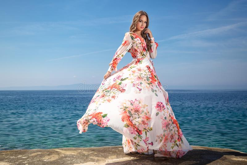 Woman in a summer dress royalty free stock photo