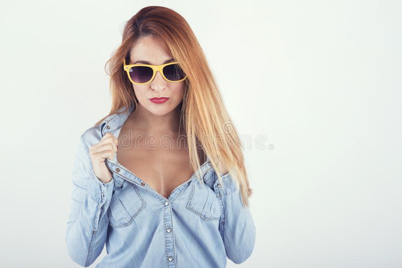 Beautiful woman with sunglasses. On white background stock images