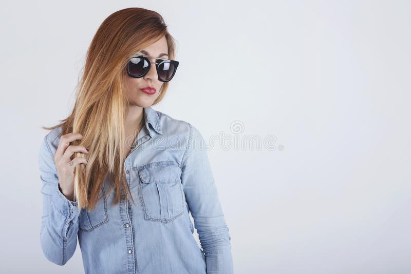 Beautiful woman with sunglasses stock photography