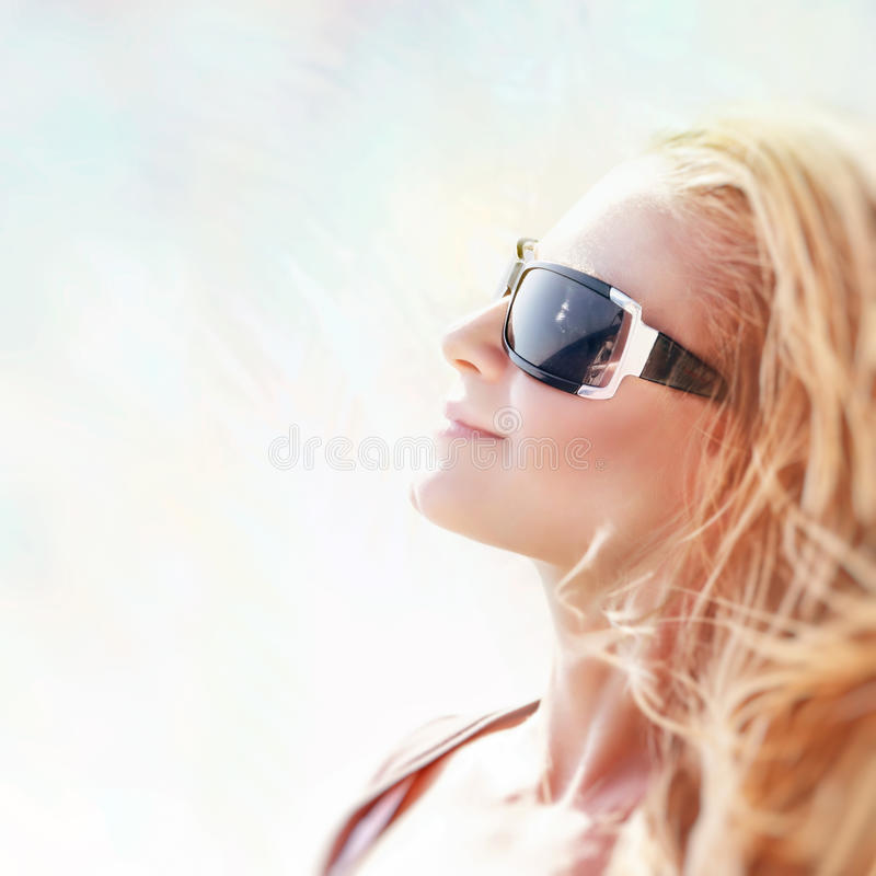 Beautiful Sunny Day At Tropical Beach Royalty Free Stock: Blond Woman With Sunglasses Enjoy Sunny Day Stock Photo