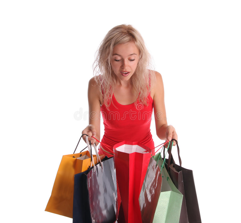 Stunning And Surprising New Looks: Beautiful Woman With Surprise Looks In A Bag 2 Stock Photo