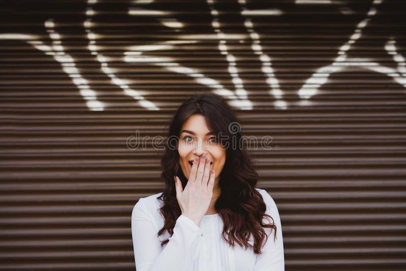 Beautiful woman surprised stock photos