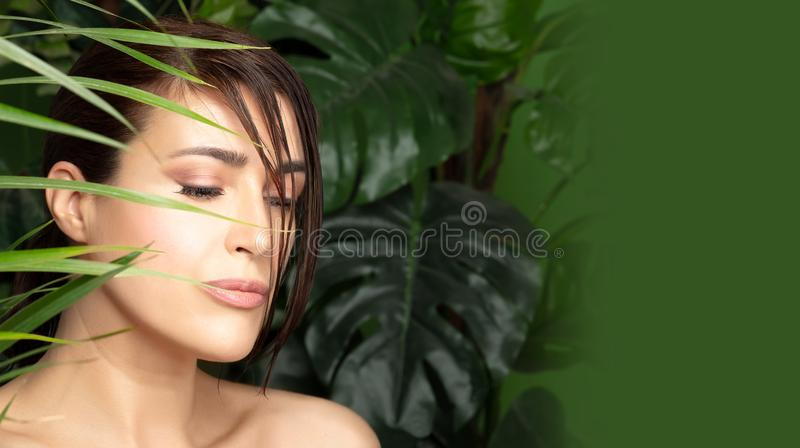 Beautiful woman surrounded by green plants. Organic cosmetics and body care concept. Organic and bio cosmetics concept with the face of a beautiful young woman royalty free stock images