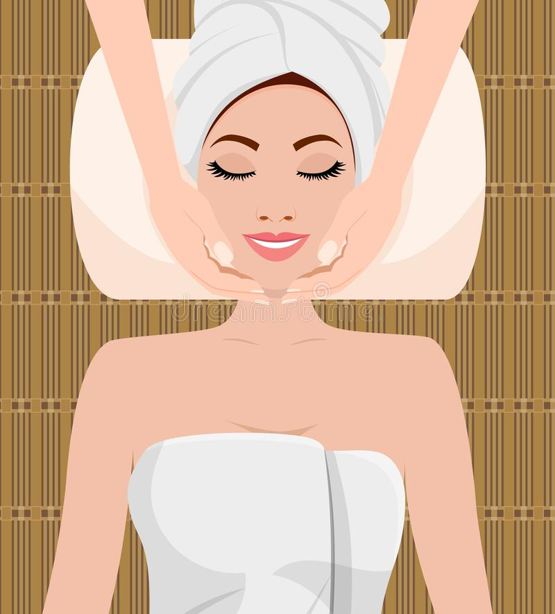 Beautiful woman taking facial massage. Treatment in the spa salon. SPA beauty and health concept. Skin care . Relaxation Vector illustration in flat style vector illustration