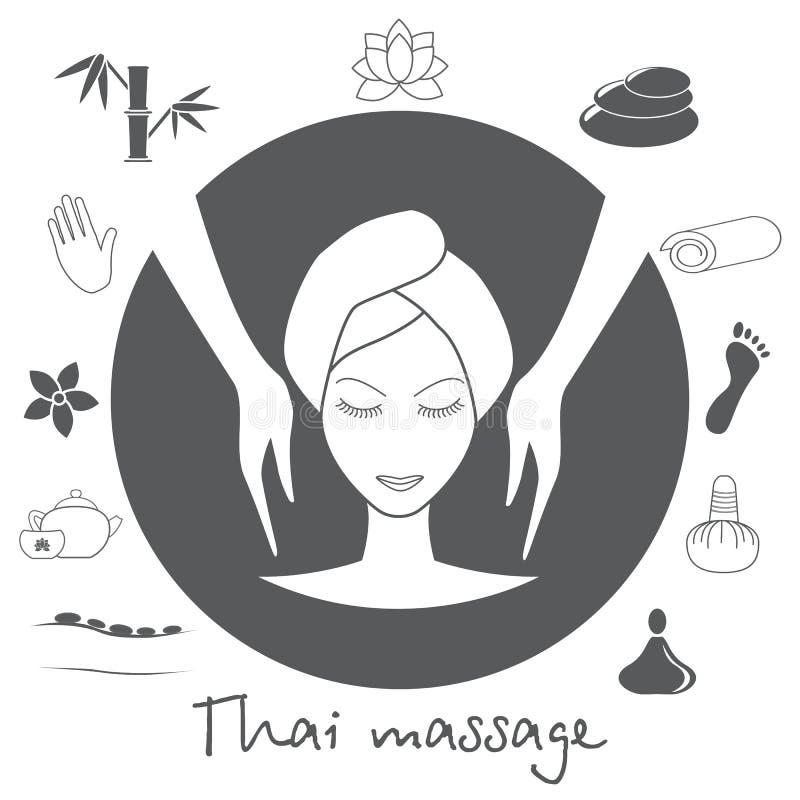 Beautiful woman taking facial massage treatment. Thai massage. Spa icons set in grey. Stock . Flat design royalty free illustration