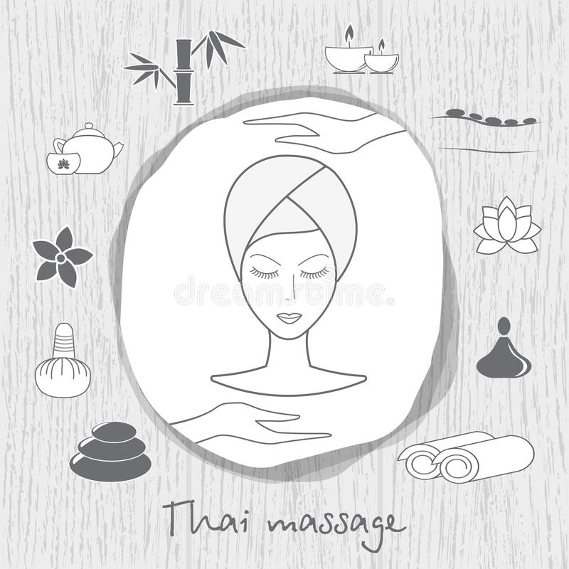 Beautiful woman taking facial massage treatment. Thai massage. Spa icons set on wooden background in grey. Stock . Flat design stock illustration