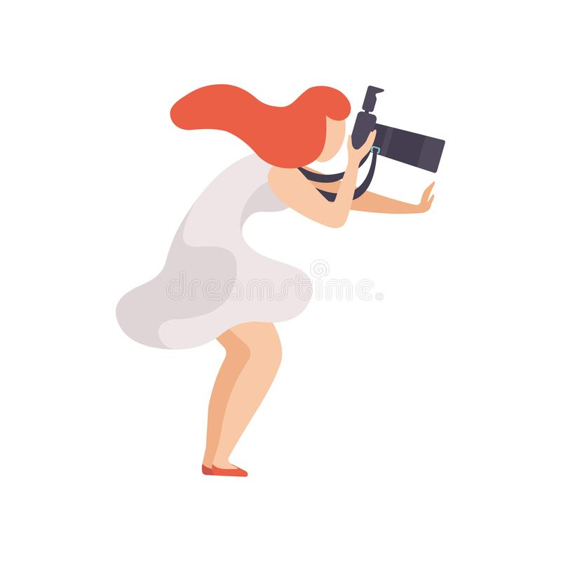 Beautiful Woman Taking Photo with Sir Camera, Female Photographer Character Vector Illustration stock illustration