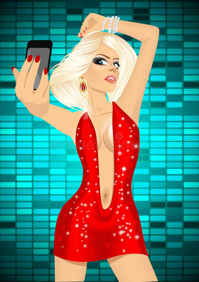 Beautiful woman taking a selfie using her smartphone vector illustration