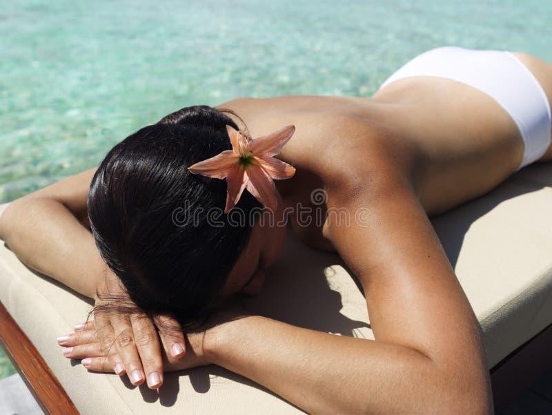 Beautiful Woman Taking Sunbath Stock Photos