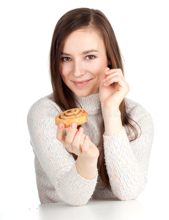 Beautiful Woman With Tasty Cake Royalty Free Stock Photo