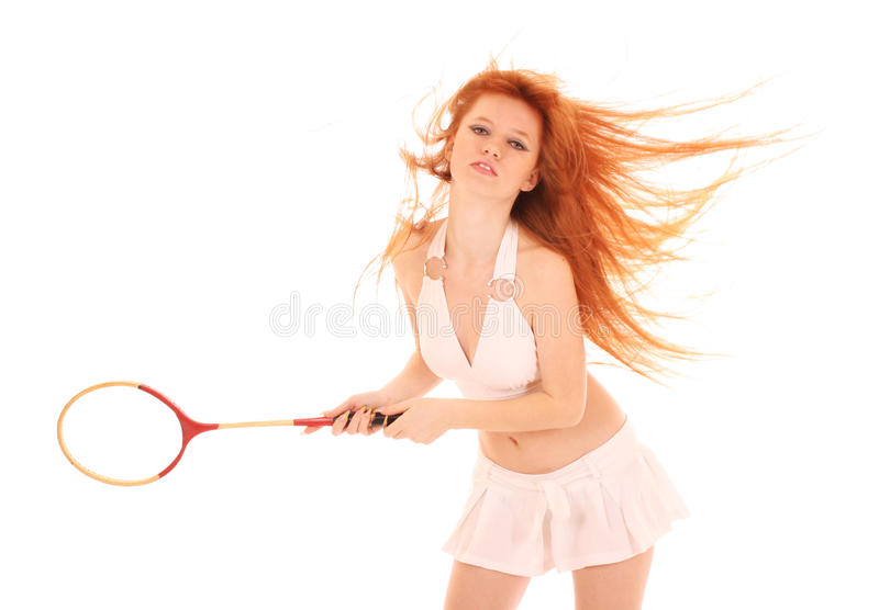 Download Beautiful Woman With Tennis Racket Isolated Stock Photography - Image: 13919072