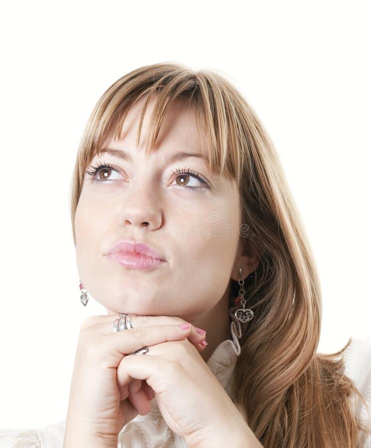 Beautiful woman thinking stock photos