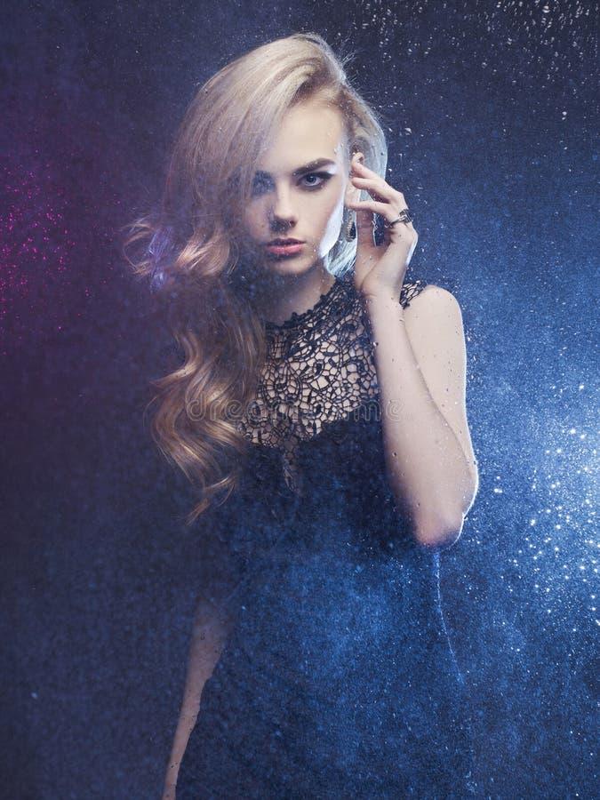 Free Beautiful Woman Through The Wet Window Stock Photography - 51099292