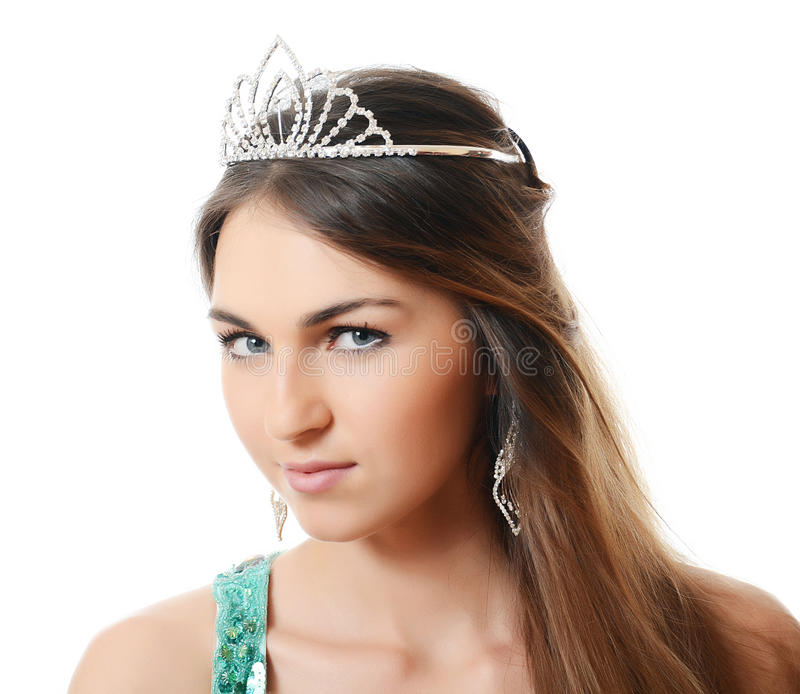The beautiful woman with a tiara on a head royalty free stock photography