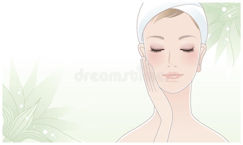 Beautiful woman touching her face on lotus flower stock illustration