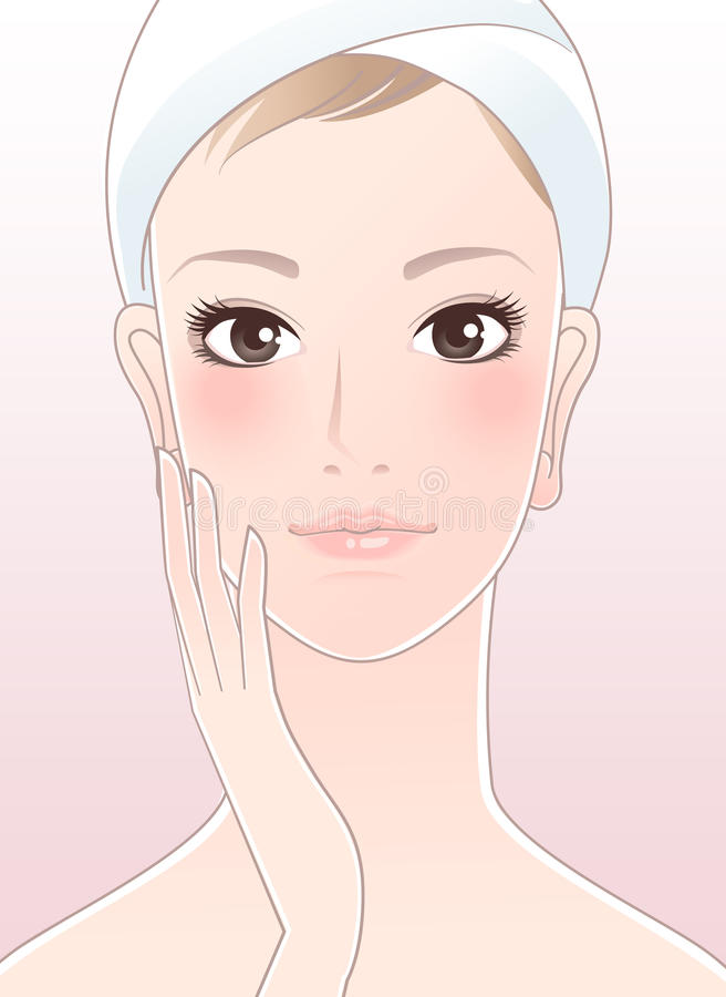 Beautiful woman touching her face after skin care stock illustration