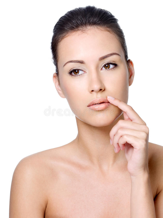 Download Beautiful Woman Touching Her Lips Stock Image - Image: 21516869