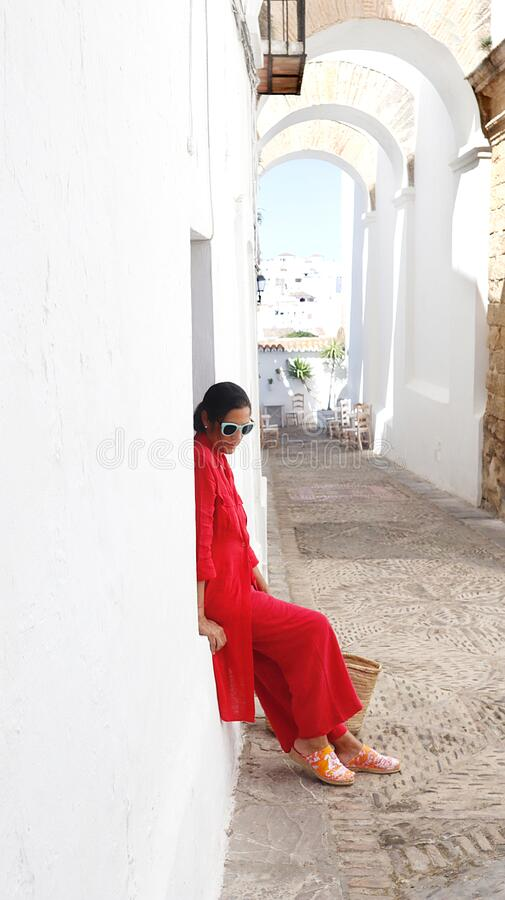 Beautiful woman tourist relaxed in Andalusia royalty free stock image