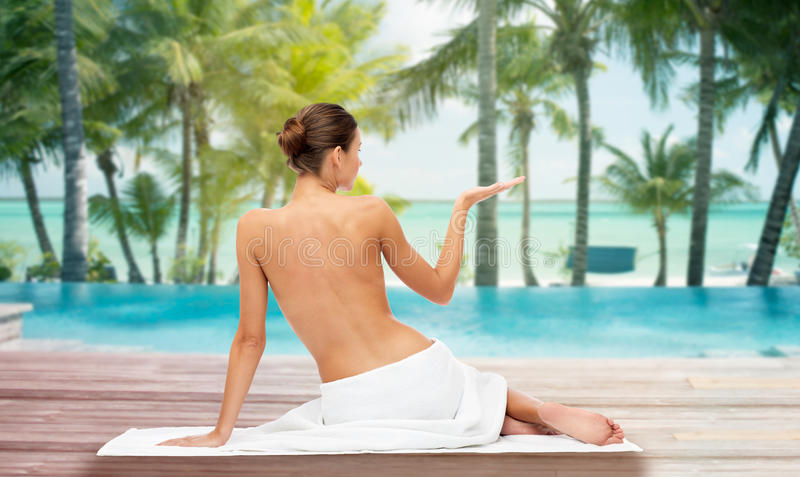 Download Beautiful Woman In Towel With Bare Top On Beach Stock Photo Image Of Back