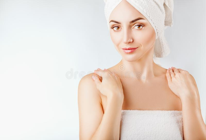 Woman`s face stock photo