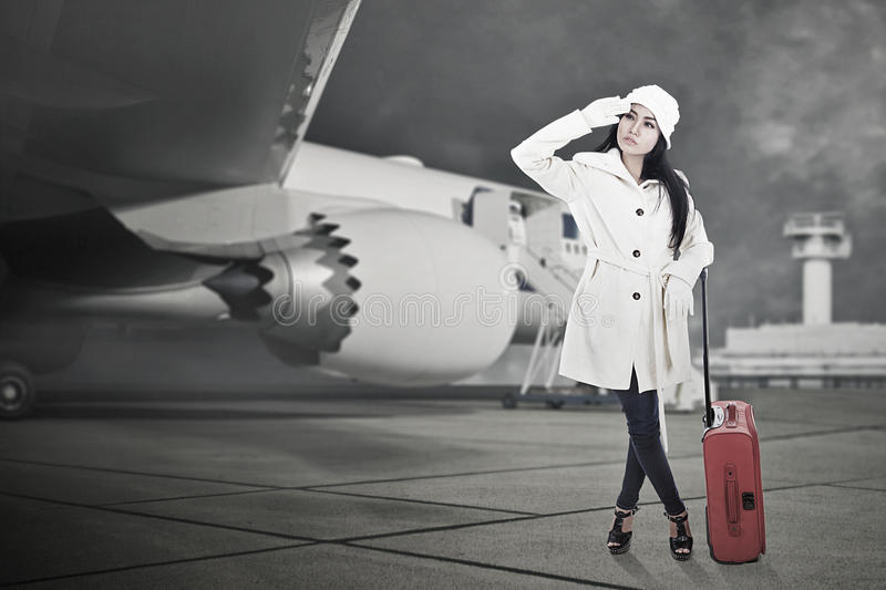 Beautiful Woman Travel In Winter With Luggage Royalty Free Stock Photography