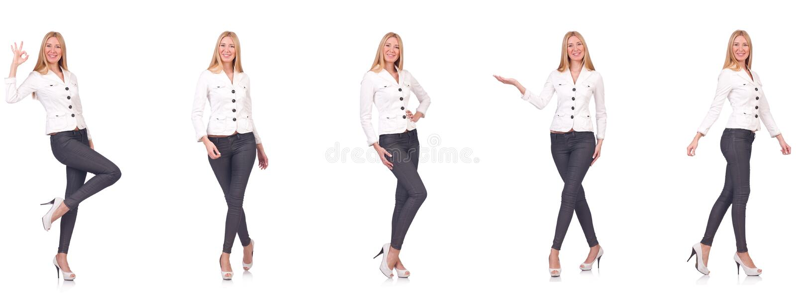 The beautiful woman in trousers isolated on white stock photography
