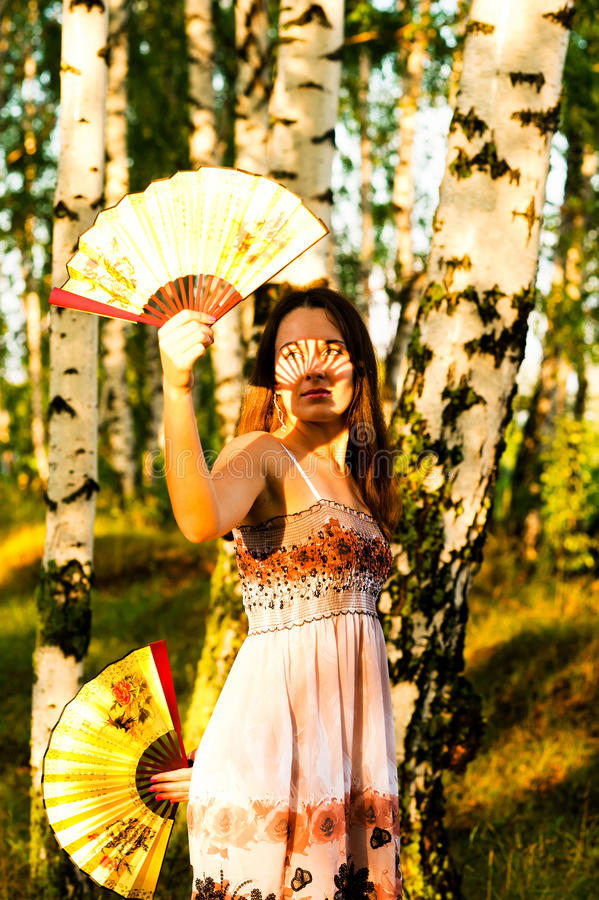 Beautiful Woman With Two Fans In The Sun Stock Photography