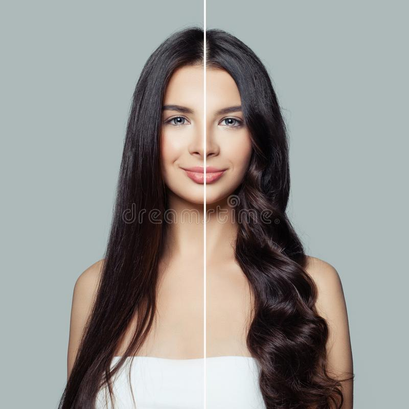 Beautiful woman before and after using a hair ironing or hair curler for perfect curls. Haircare and hair styling concept.  stock images