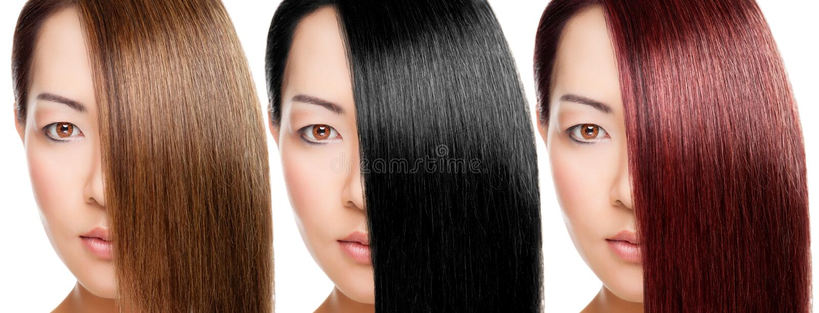 Beautiful woman with 3 versions of hair colour. Beautiful young Thai woman with 3 versions of hair colour stock images