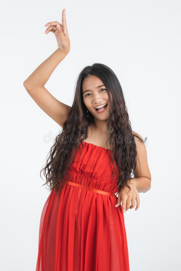 Beautiful woman very happy enjoy dancing royalty free stock photo