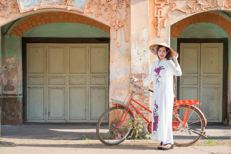 Beautiful woman with Vietnam culture tranditional dress royalty free stock image