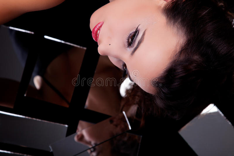 Beautiful Woman Viewed From Above, Looking Sideway Royalty Free Stock Photos