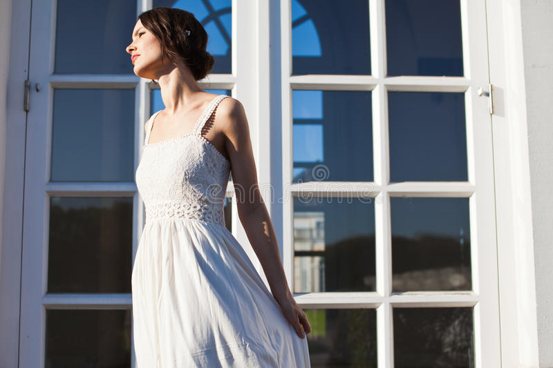 Beautiful woman in vintage dress royalty free stock images