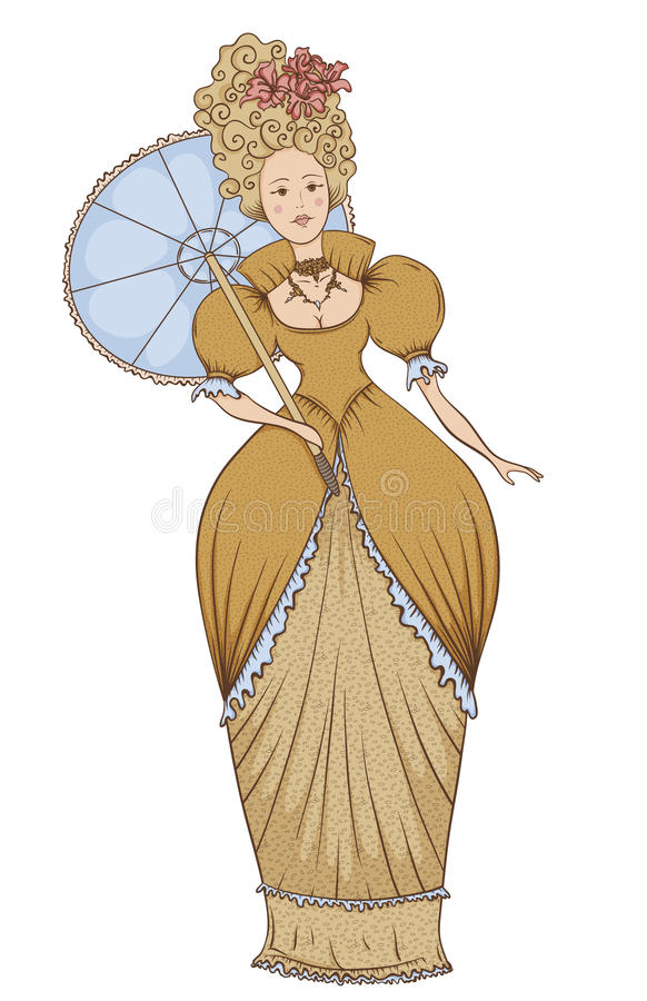 Beautiful woman in vintage dress with umbrella in Baroque style. royalty free illustration