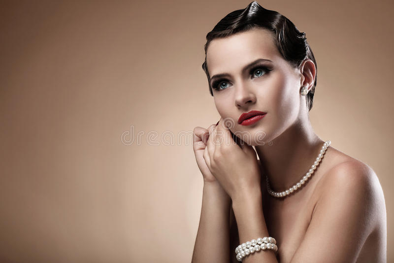 Beautiful woman in vintage image stock photos