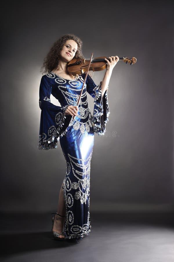 Beautiful Woman With Violin Stock Photos