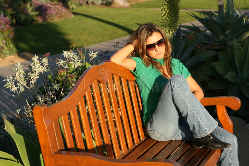 Download Beautiful Woman Waiting At The Park (horizontal) Stock Photo - Image: 1713282