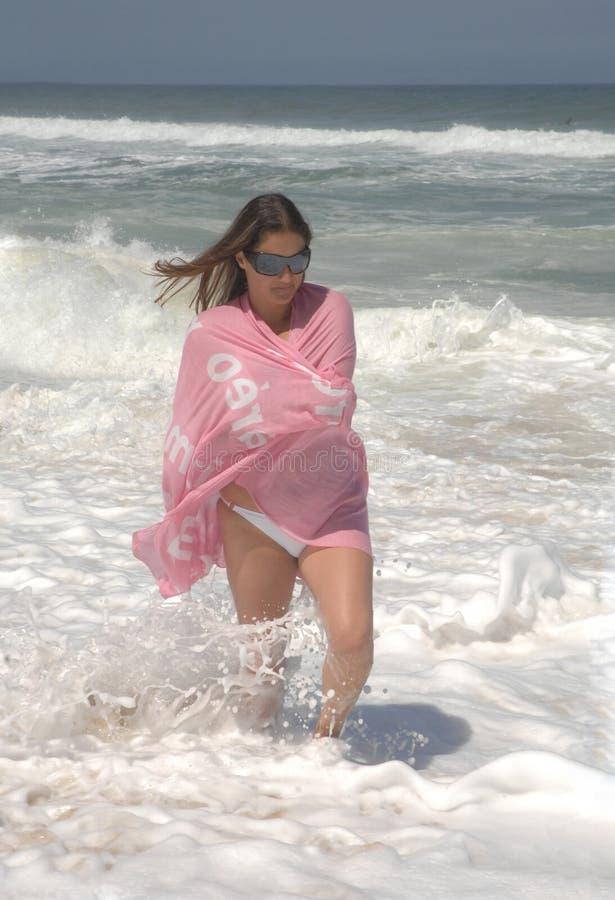 Download Beautiful Woman Walking On The Beach Stock Photo - Image: 10388252