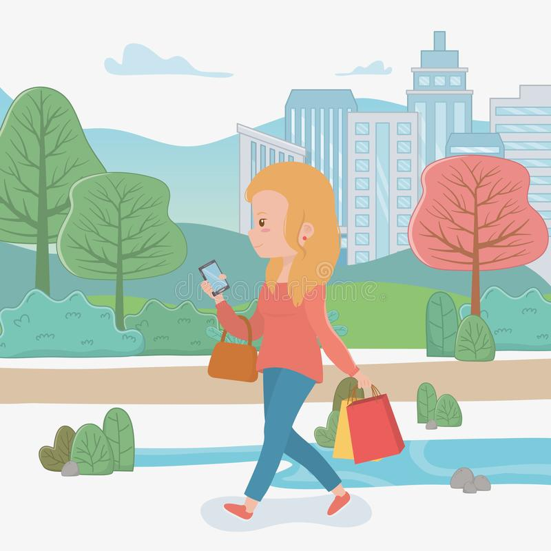 Beautiful woman walking in the park using smartphone royalty free illustration