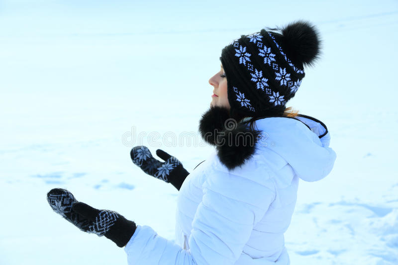 Download Beautiful Woman In Warm Clothing With Snow Stock Image - Image: 29241293