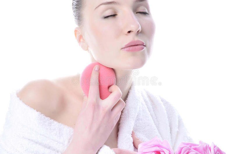 Beautiful woman washing your neck royalty free stock photography