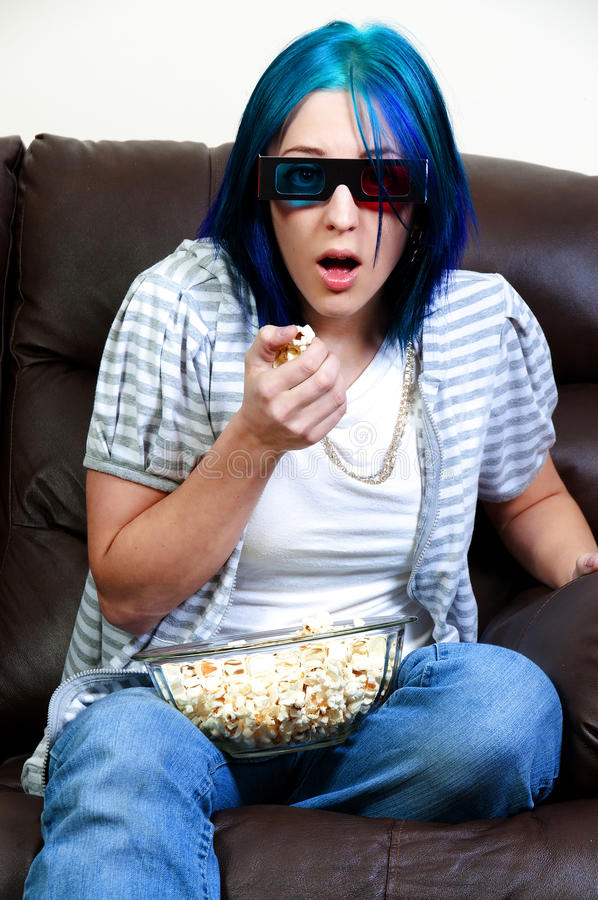 Beautiful Woman Watching TV Stock Photography
