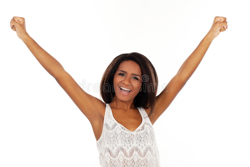 Beautiful woman waves her hands happily stock photo