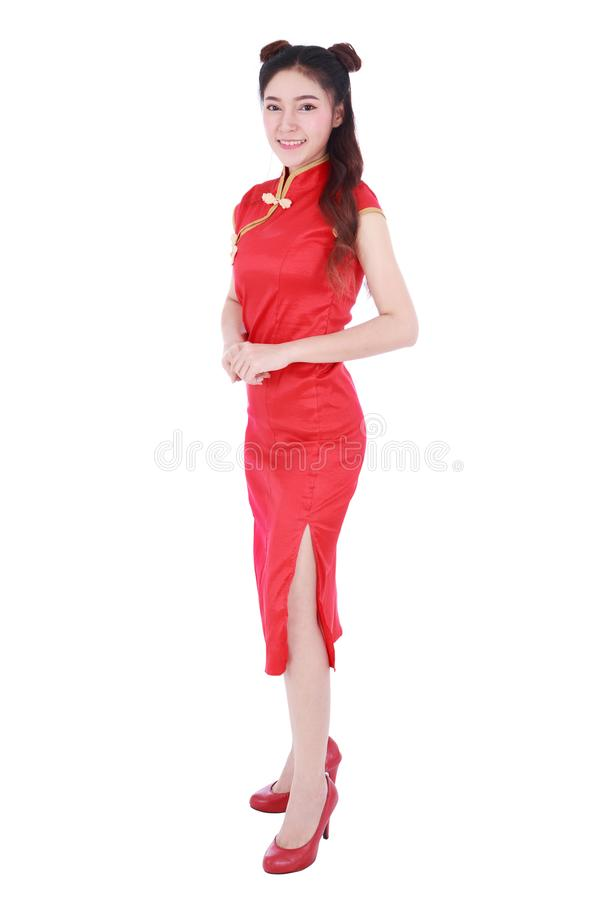 Woman wear red cheongsam in concept of happy chinese new year is royalty free stock image