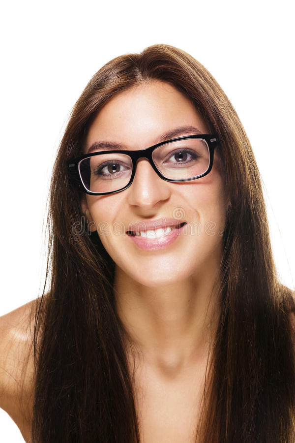 Beautiful woman wearing black glasses stock photos
