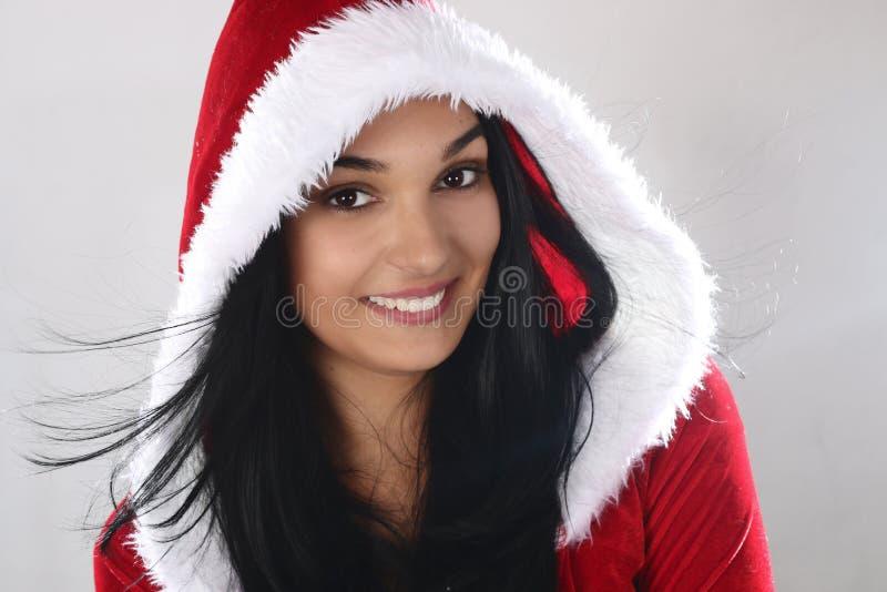 Beautiful woman wearing a Christmas costume stock photography
