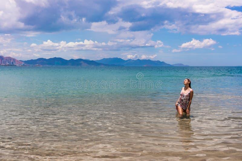 Beautiful woman in the sea royalty free stock photo