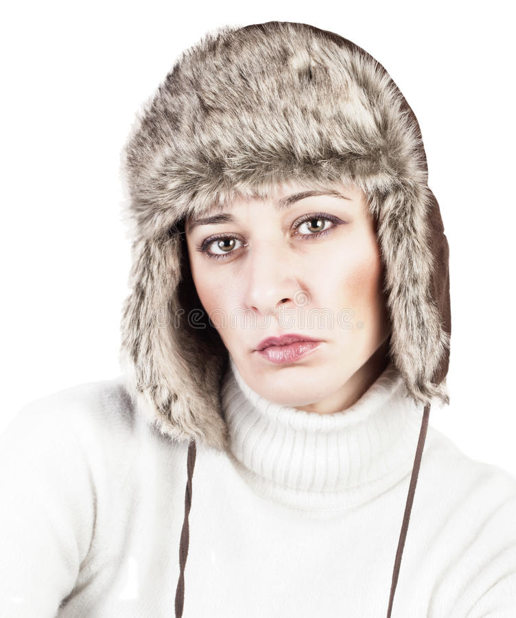 Beautiful Woman wearing Fur Hat stock photos